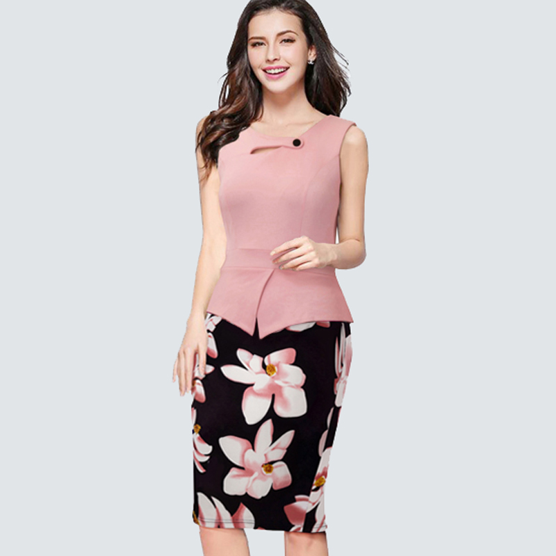 Buy Cheap New Arrival Summer sleeveless Floral Casual Dress Women Pencil PatchWork Bodycon Pink Dress Elegant Casual apparel B288