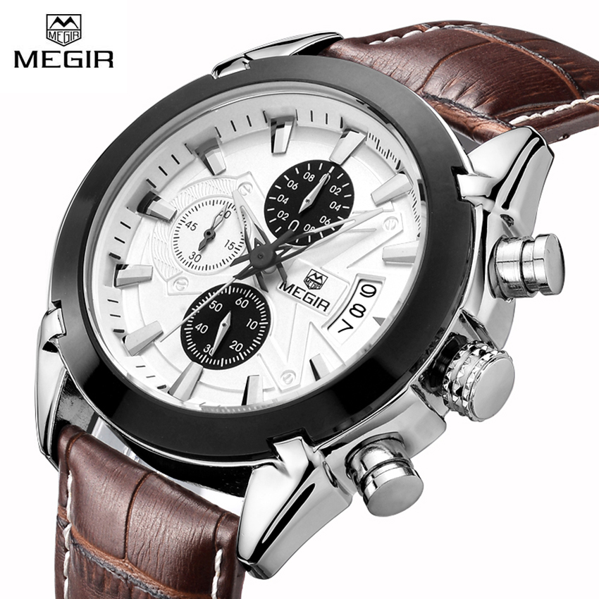 Megir Fashion Watch Leather band Men Quartz Watches Brand Waterproof Clock Luxury Sport Man Wristwatch Army Style Montre Homme megir fashion watch leather band men quartz watches brand waterproof clock luxury sport man wristwatch army style montre homme