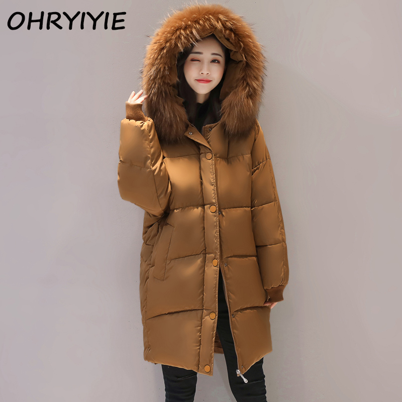 OHRYIYIE Plus Size 5XL 6XL Loose Parkas Women Winter Jacket And Coat Big Fur Collar Thick Cotton Padded Hooded Jacket Female W85 women winter coat leisure big yards hooded fur collar jacket thick warm cotton parkas new style female students overcoat ok238