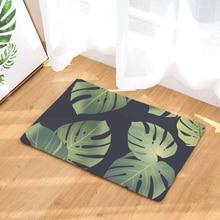 Tropical Plants Printed Coral Fleece Floor Mats