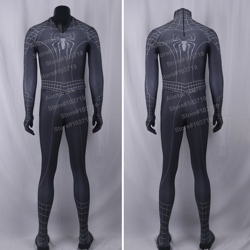 Hero Catcher High Quality Black Spiderman Costume With 3D Spider - Կարնավալային հագուստները - Լուսանկար 2