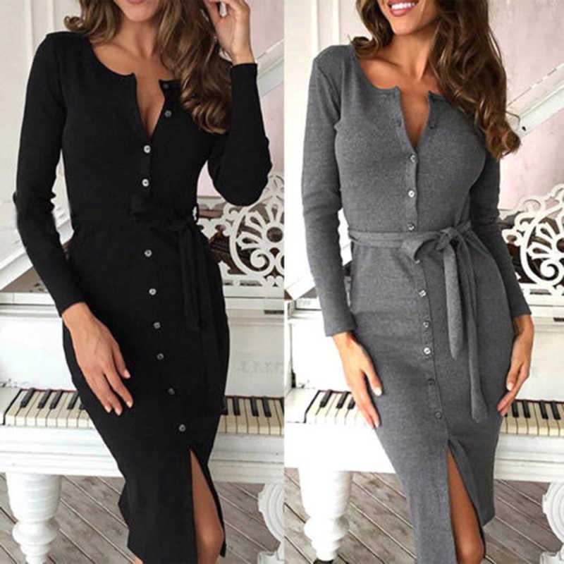Новогоднее теплое платье осень-зима 2019, женское сексуальное облегающее платье бодикон, женская одежда, вязаное платье с v-образным вырезом и длинным рукавом Vestidos