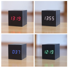 Mini cute Led wooden alarm clock Wake up light digital external clock temperature date USB power/Battery electronic desktop
