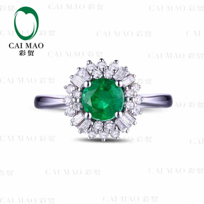 0.76 ct Natural Emerald 18KT/750 White Gold 0.36 ct Full Cut Diamond Engagement Ring Jewelry Gemstone colombian