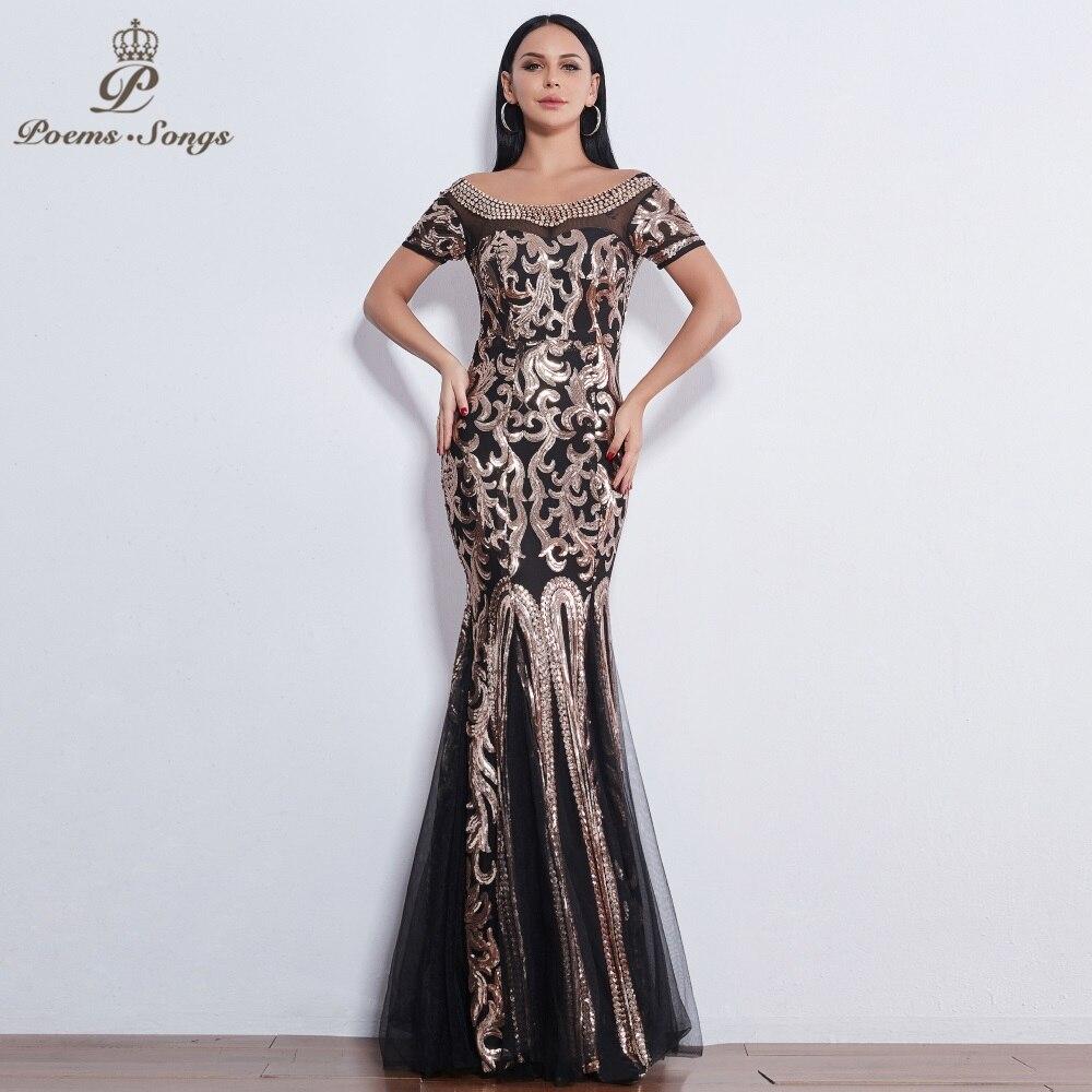 Poems Songs 2019 Elegant luxury Sequin Short sleeve   Evening     dresses   long vestido de festa longo prom   dress   longue robe