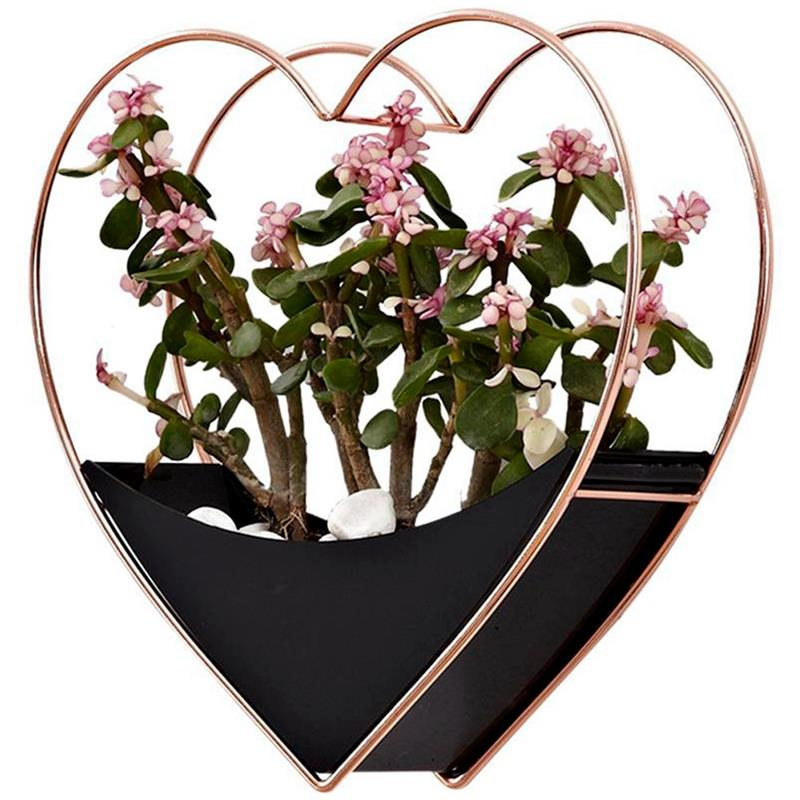 Home Living Room Wall Decoration Garden Decoration Flowerpot Wall Hanging Decor Succulent Planter Flower Pot Heart Hang Basket