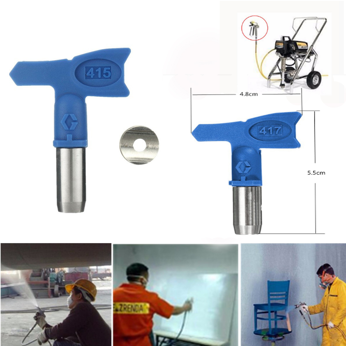 Bleu 417/415/413 embouts de pulvérisation sans air buses de pulvérisation pour pulvérisation sans air G un et pulvérisateur de peinture