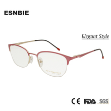 ESNBIE New half glasses frame for women Semi-rimless Vintage Spectacle Frame round Pink Alloy Clear Optical Glasses