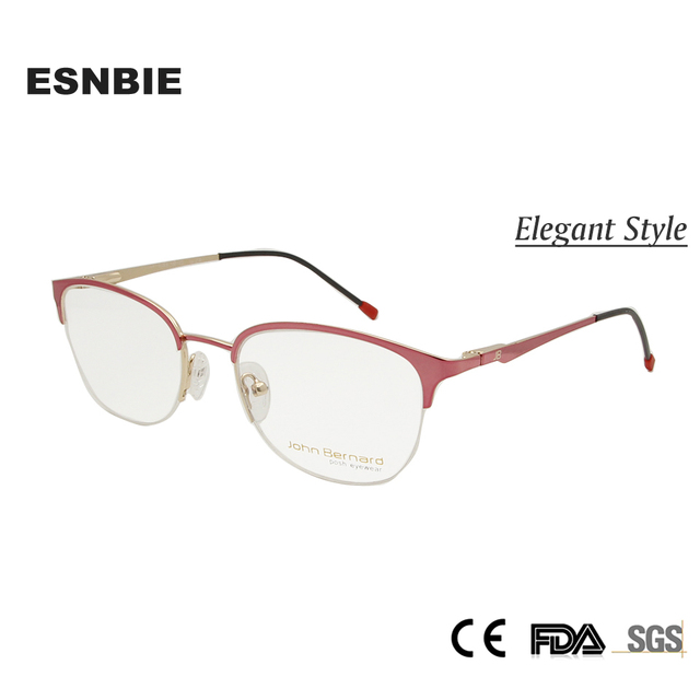 43481d1c34 ESNBIE New half glasses frame for women Semi-rimless Vintage Spectacle Frame  women round Pink Alloy Clear Optical Glasses