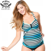 Two-piece Swimsuit Pregnancy Maternity Tankinis Set Plus Size Swimwear Halter Striped Bathing Swimming Suits  plus size