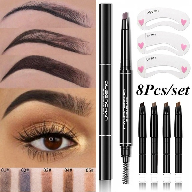8pcs Professional Automatic Eyebrow Pencil Eye Brow Pen with 4pcs Brush Eyebrow Stencils Cosmetic Makeup Tools Kit