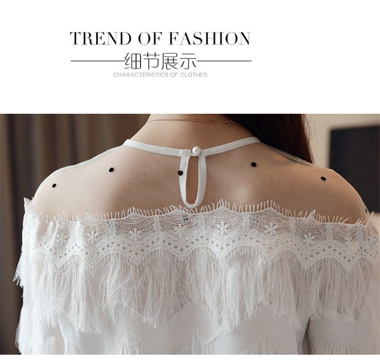 Spring 2019 off shoulder layered Shirt Stitching chiffon Shirt long sleeve Women Top sexy black white women blouse shirt 85H3 in Blouses amp Shirts from Women 39 s Clothing