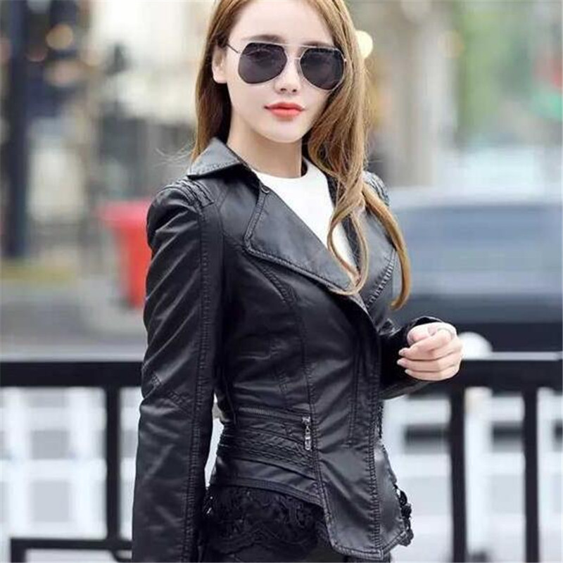 Ladies Fashion   Leather   Coats And   Suede   Jackets Spring Autumn Slim Women'S Faux   Leather   Coats Casual   Leather   Jacket Women A3698