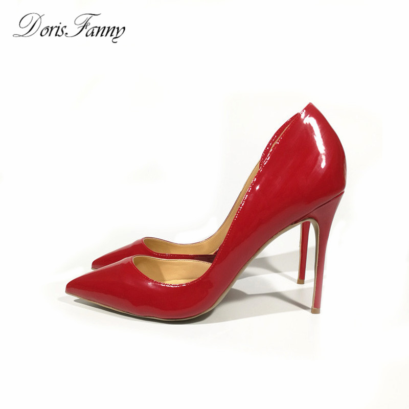 DorisFanny Top Quality Brand Design Women Pumps Patent Leather 10cm/8cm Red High Heels Women Shoes Sexy Ladies Wedding Shoes luxury brand crystal patent leather sandals women high heels thick heel women shoes with heels wedding shoes ladies silver pumps