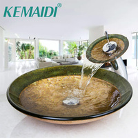 KEMAIDI Bathroom Victory Vessel Washbasin Tempered Glass Sink With Chrome Waterfall Faucet Sets Countertop Basin Sinks