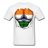 2017 Famous Brand Men S Summer India Flag Ripped Muscles Men S Printed 3d T Shirt