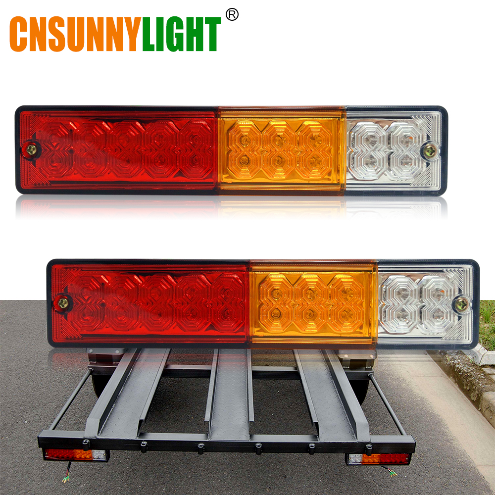 CNSUNNYLIGHT Waterproof 20leds ATV Trailer Truck LED Tail Light Lamp Yacht Car Taillight Reversing Running Brake Turn Lights 12V 2 4ghz waterproof wireless helmet 8 led brake and turn light lamp black