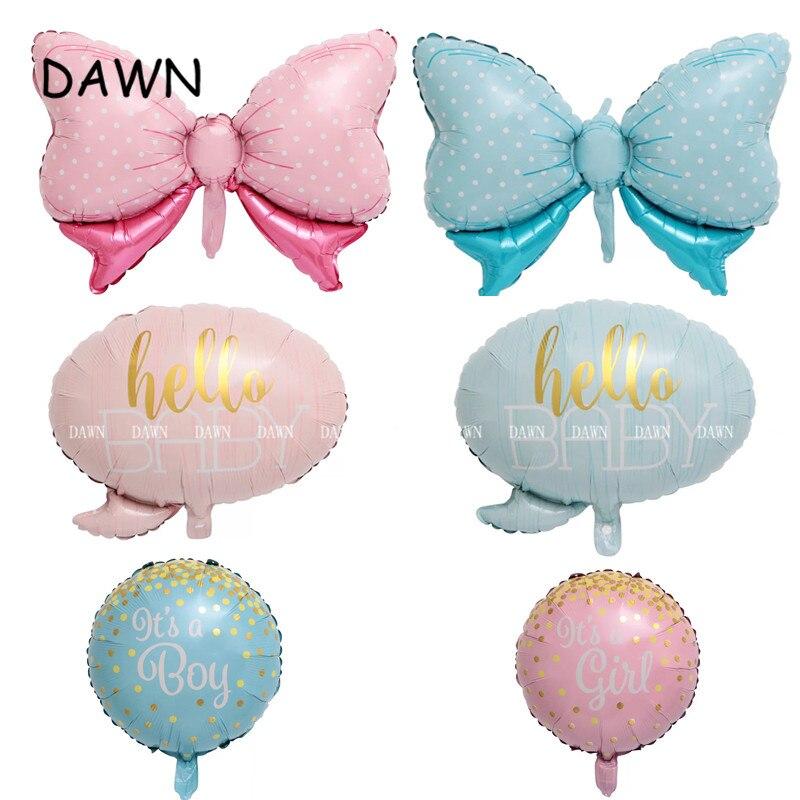 1 шт., воздушные шары из фольги с бантом для мальчиков и девочек, украшение для вечеринки на день рождения, детский душ, домашний воздушный ша...