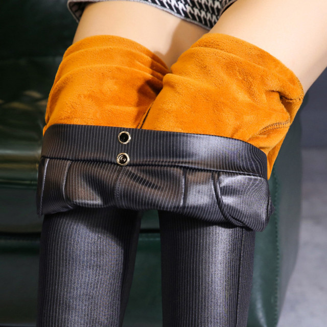 Women's Fleece PU Leather Leggings Winter Warm High Waist Striped Printed Leggings Pants Stretch Skinny Pencil Pants