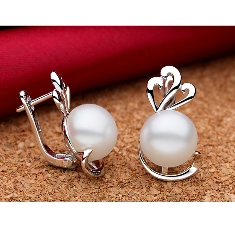 hoop female buckle store silver pearl earrings circles wedding size sterling earring pearls ear product two clips