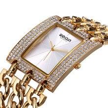 Marca de lujo de Cristal Pulsera de Oro Relojes de Las Mujeres de Las Señoras Reloj de Vestir Informal Feminino Mujer Reloj Hora 2017 Nuevas Muchachas