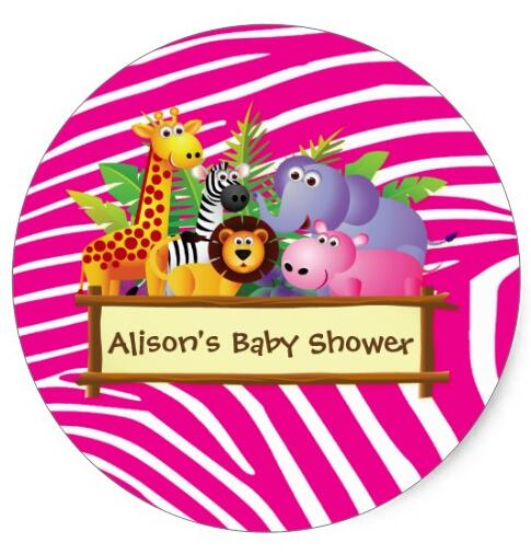 Stationery Stickers Lovely 1.5inch Cute Safari Jungle Baby Shower Favor Sticker