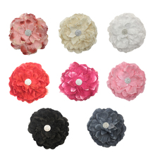 10pcs/lot 5.5 7Colors Faltback Satin Flowers with Lace Girls Hairband Accessories Handmade Ornament For Headband