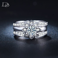 White Gold Plate Alliance Rings For Women Wedding Romantic Jewelry Set Female Men Couple Rings Flowers