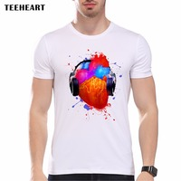 2017 TEEHEART Cool Summer Brand Men Music Heart T Shirt Funny T Shirts Men S Casual