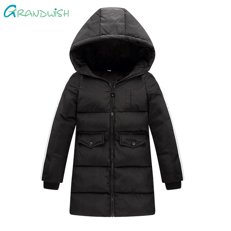 Grandwish Girls Long Hooded Outerwear Winter Warm Striped Jacket for Children Kids Thicken Parkas Coats Clothes 6T-14T,TC165
