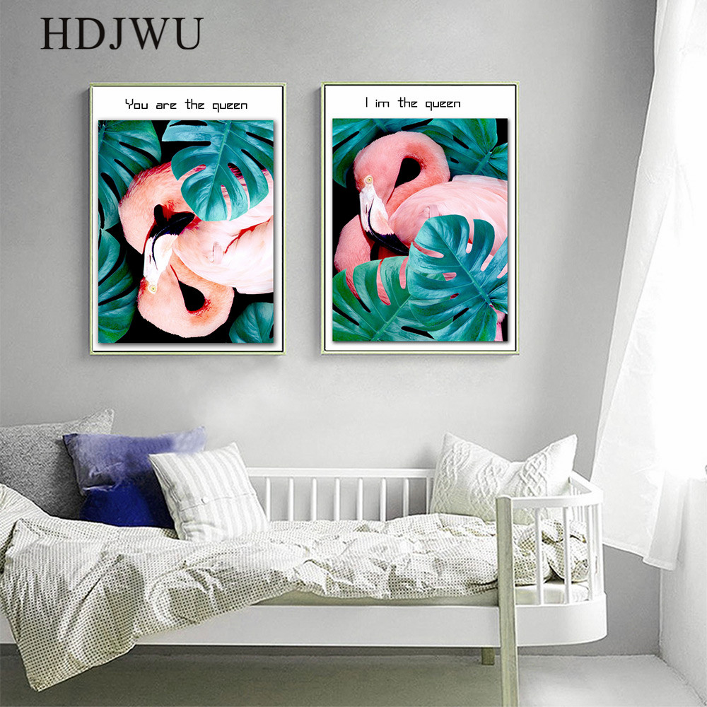 Nordic Art Home Decor Canvas Painting Wall Picture PinkFlamingo Printing Posters Wall Pictures for Living Room DJ21 in Painting Calligraphy from Home Garden