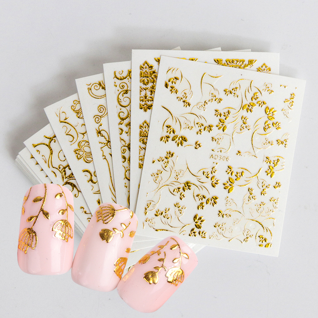 20pcs Gold Carving Flower 3D Nail Art Sticker Decal Decoration Glitter Retro Designs Bronzing Tips Nail Accessories SAAD301-326