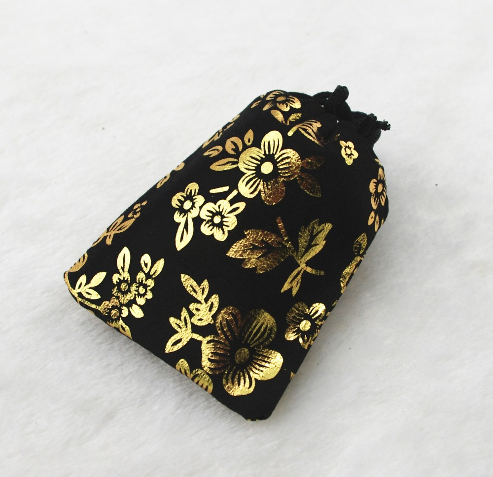 3x 4 inch 8 x 10 cm gold flower black velvet bags jewellery pouches small gift bag Perfect for Jewelry Wedding Favors and Gi