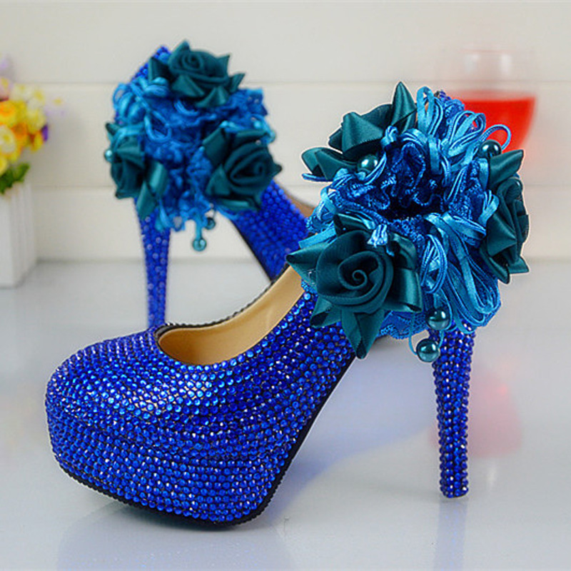 Handmade Lady Anniversary Party Pumps Wedding Dress Shoes Royal Blue Color Rhinestone Party Prom High Heel Shoes Plus Size