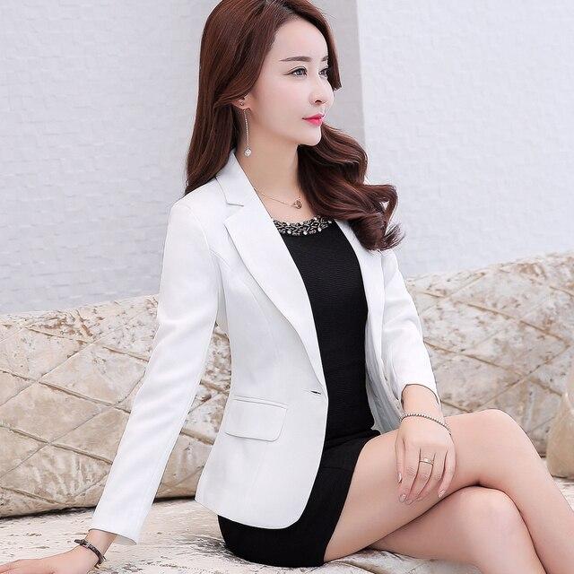 2019 Autumn Fashion Women Slim Fit Blazers Jackets Notched Long Sleeve Suit  Short Coat Female Outwear Plus Size 5XL Y384 85562f40f1