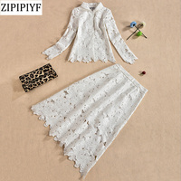 2018 Spring Summer Fashion Women Plus Size 3XL White Lace Twin Set Blouse Slim Skirt Hollow