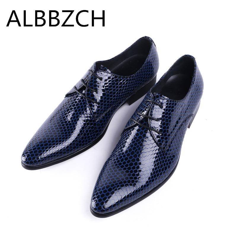 Peau de serpent motif en cuir véritable hommes sheos noir bleu robe de mariée chaussures hommes bout pointu dentelle derby affaires travail homme chaussures