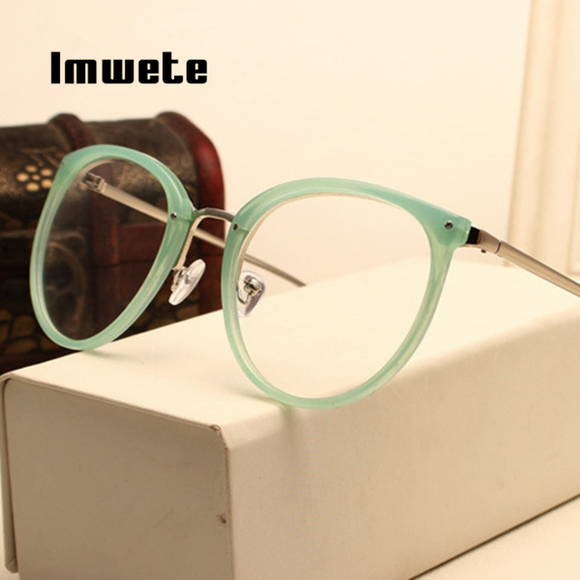 Imwete Optical Transparent Glasses Myopia Eyeglasses Frames Metal Spectacles Clear Lenses 2