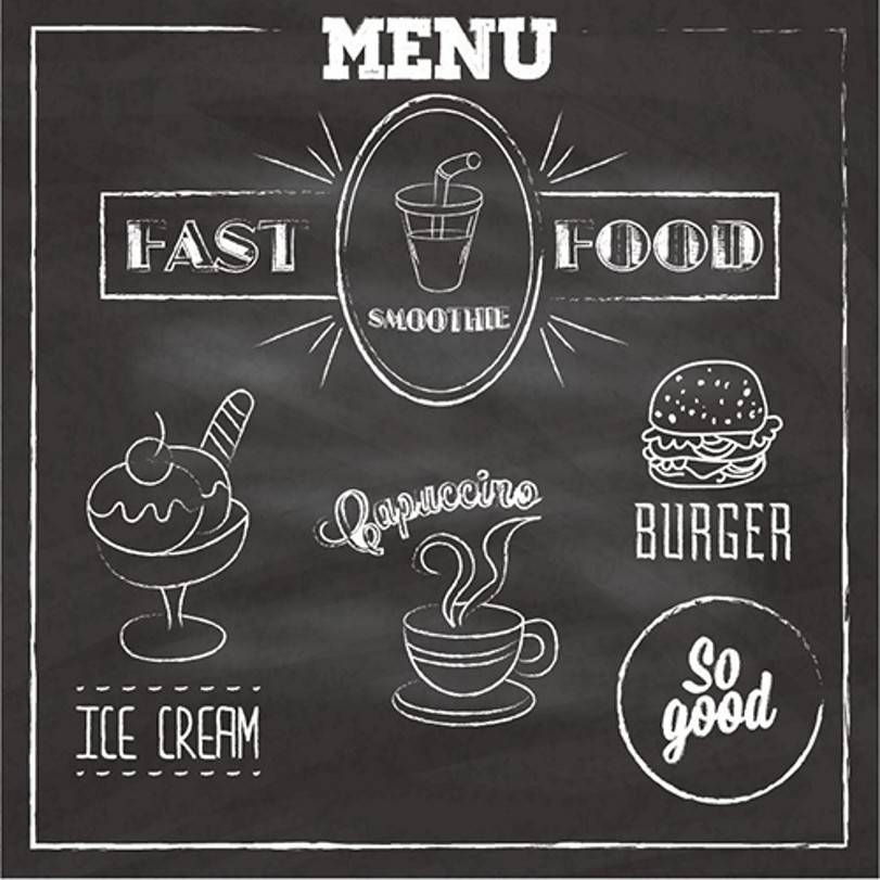 Menu Black Chalkboard Food Photography Backgrounds Vinyl cloth High quality Computer printed wall  backdrop menu чаша black contour