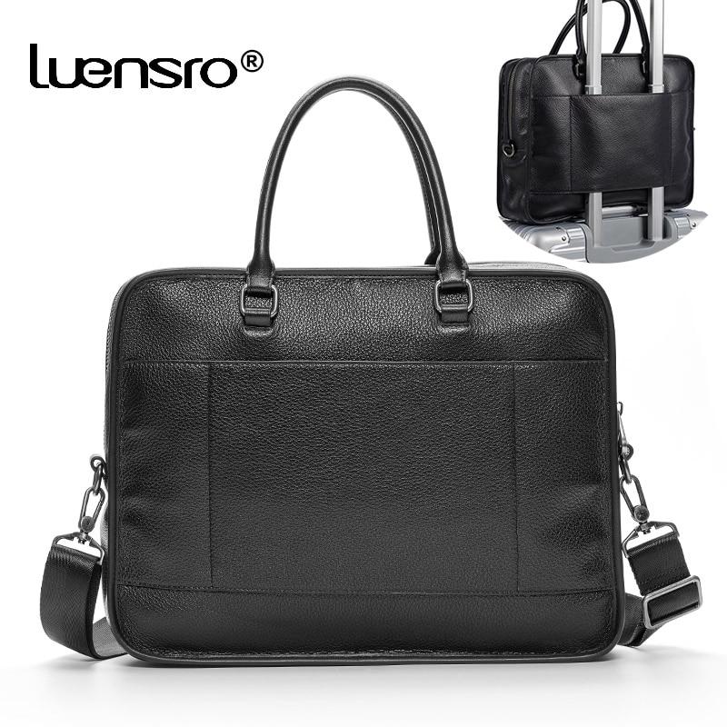LUENSRO Cow Genuine Leather Briefcase Black Business Men Bags Laptop Shoulder Bag Tote Briefcases Crossbody Bags