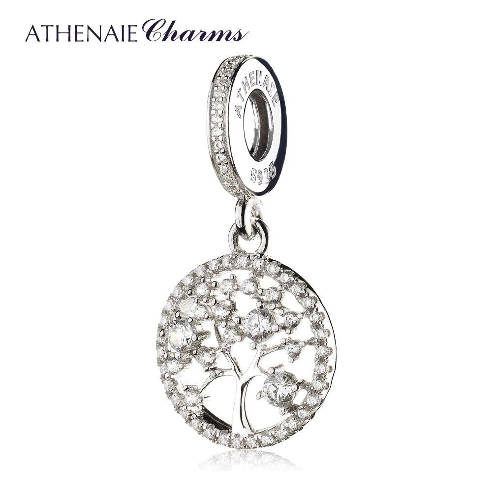 ATHENAIE 925 Sterling Argent avec Pavent Effacer CZ Famille Patrimoine Pendentif Gouttes Charmes Pour Bracelets Perles amp Bijoux