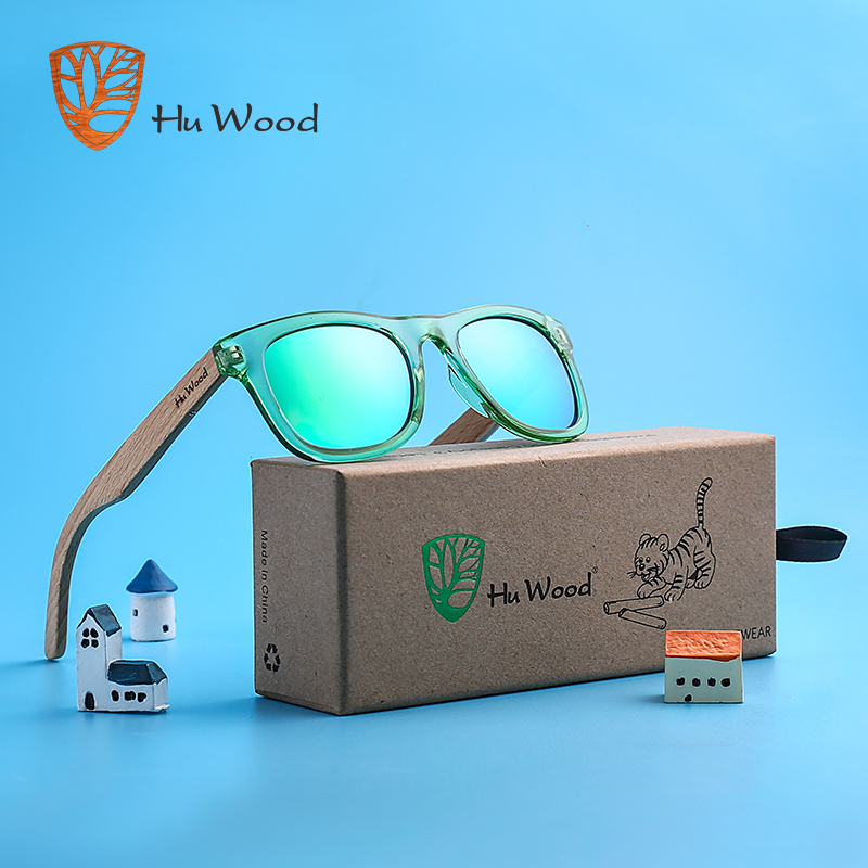 HU WOOD Brand Design Children Sunglasses Multi-color Frame Wooden Sunglasses For Child Boys Girls Sunglasses  Wood GR1001(China)