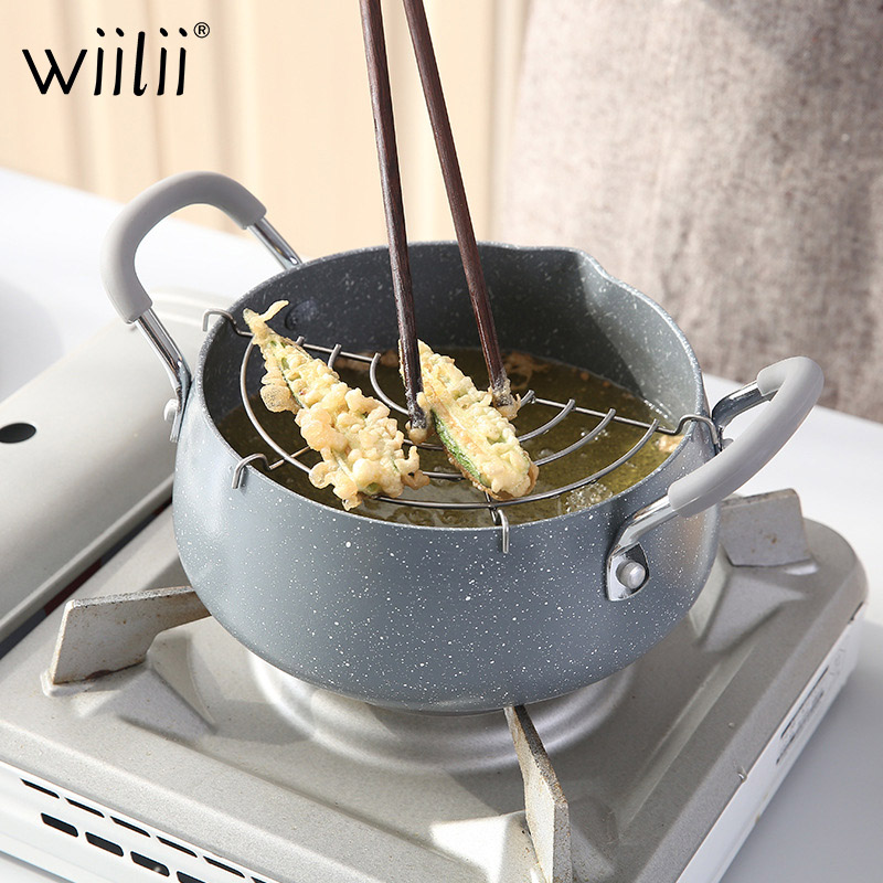 WIILII 18cm Tempura Frying Pot Deep Fryer Potable Frying Pots With Basket Household Cookware Outdoor Picnic Kitchen Utensils