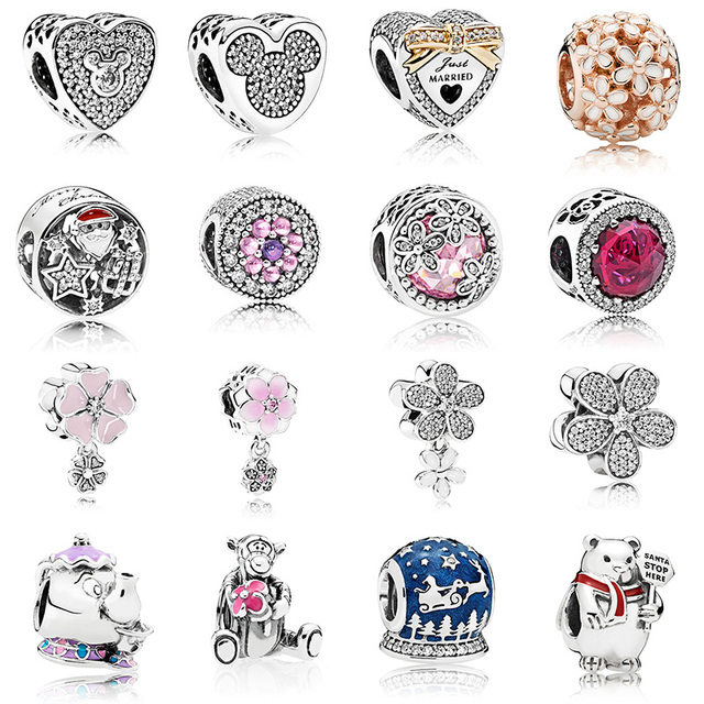 16 Style Silver Beads Charms Fashion Cute Bear Flower Memorial Crystal Beads for Women Original Pandora Charm Bracelet & Bangle