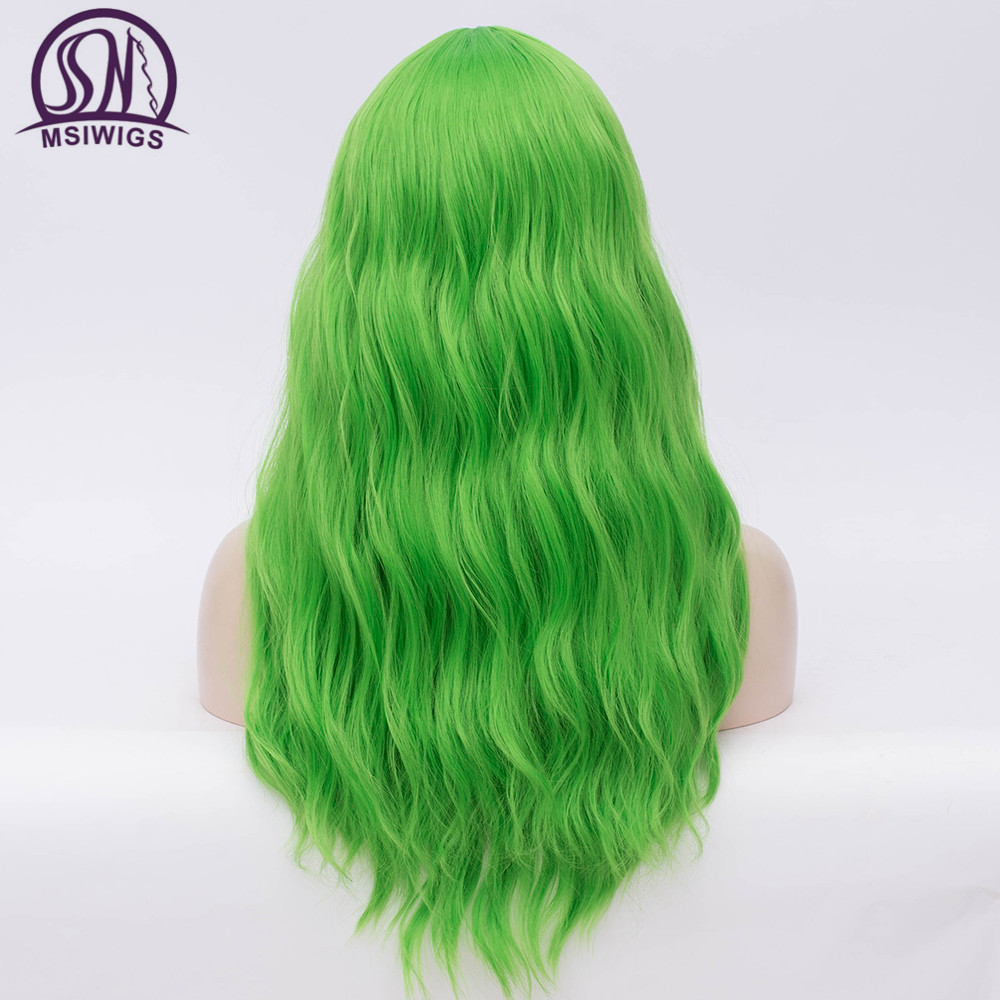 Image 3 - MSIWIGS Wavy Synthetic Wigs for White Black Women Long Green Wig Cosplay Heat Resistant Rose Net Natural Hair with Bangs-in Synthetic None-Lace  Wigs from Hair Extensions & Wigs