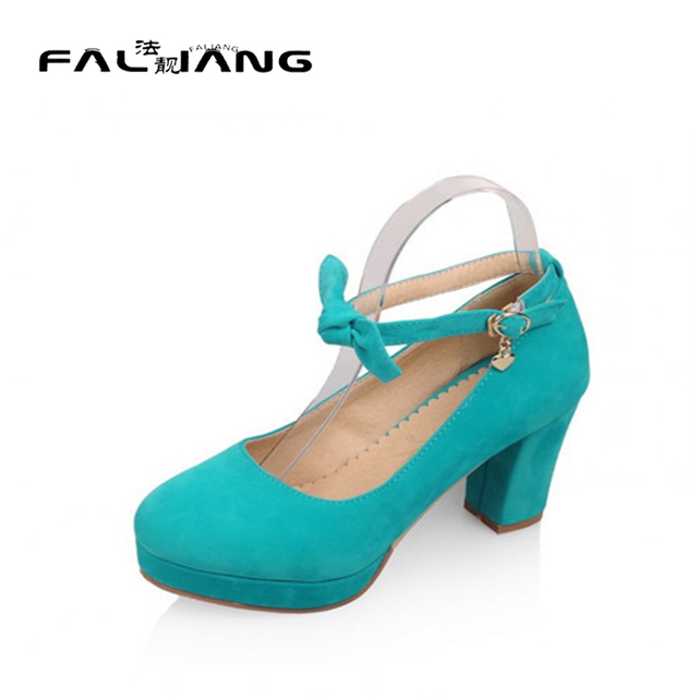 U4.5-10.5 Elegant Dress Womens Faux Suede Flock Lolita Block High Heel Pumps Bowknot Mary Janes Ankle Strap Shoes Plus Size