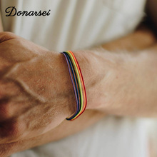 Rainbow Lesbian LGBT Pride Gay Pride Woven Braided Rope String Strand Friendship Bracelet Exquisite Wristlet braided strand bracelet watch