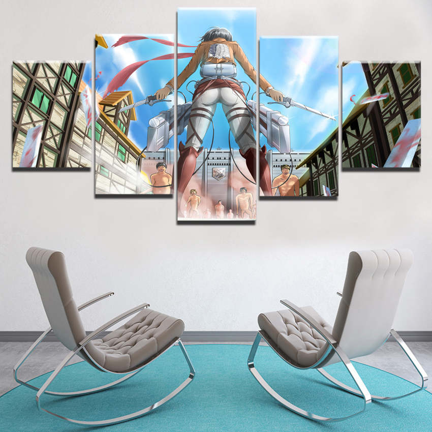 Modern Wall Art Canvas Print Animation Painting 5 Panel