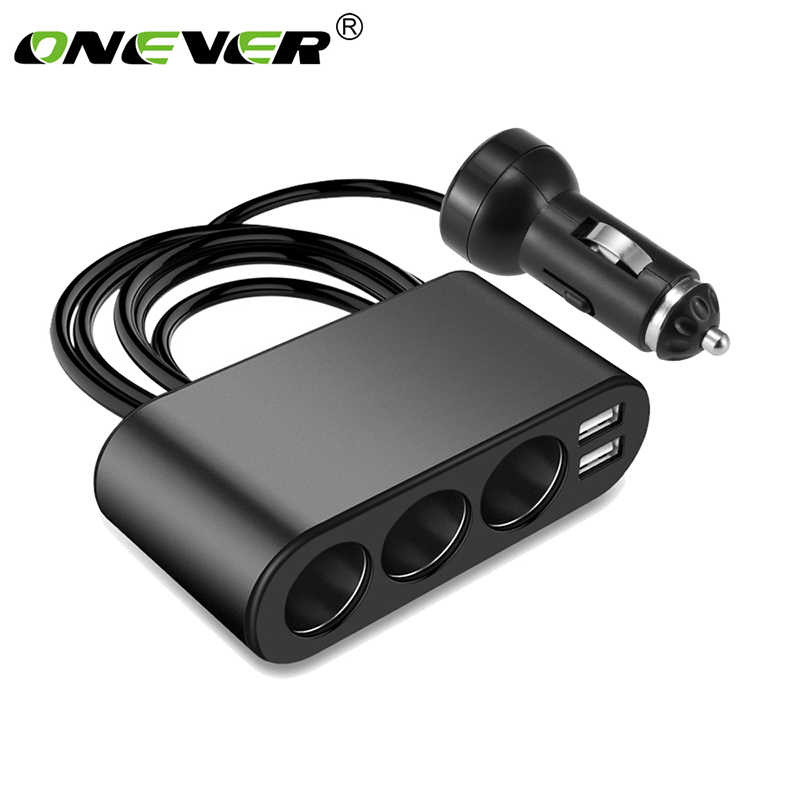 Onever 3 Way Auto Car Cigarette Lighter Socket Splitter Charger 3.1A Dual USB Car Charger Power Adapter for iPhone Samsung GPS