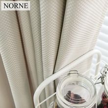 NORNE Solid Color Faux Linen Checker Drapes Room Darkening Curtains for Living Room Bedroom Window Curtain Kitchen Door Blinds norne 30